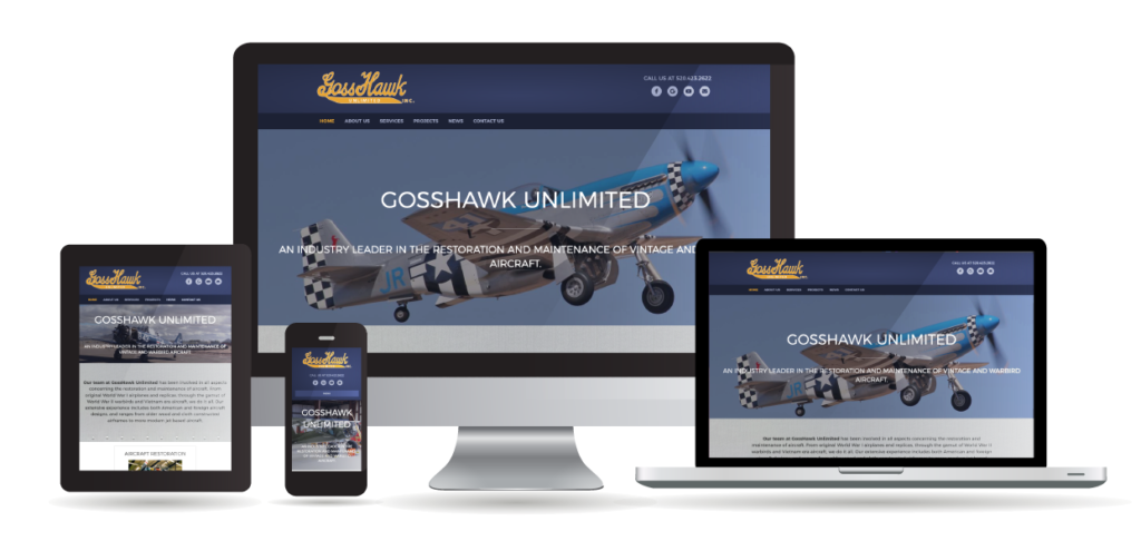 Different devices displaying the Gosshawk Unlimited website to show responsible design.