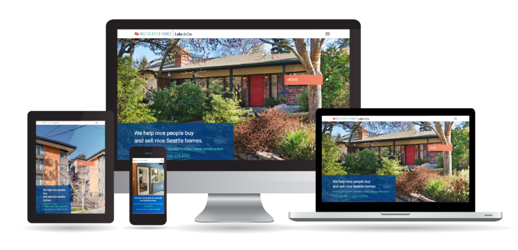 Different devices displaying the Nice Seattle Homes website to show responsible design.