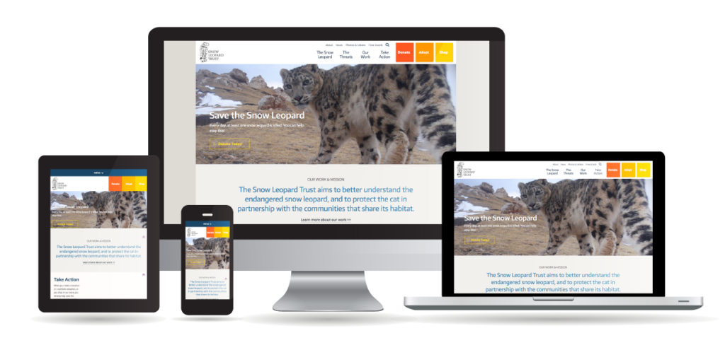 Different devices displaying the Snow Leopard Trust website to show responsible design.